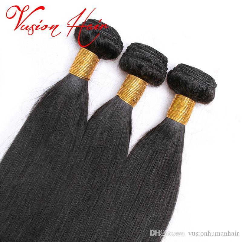 새로운 도착 톱 레이스 정면 3 번들 스트레이트 페루 헤어 처리되지 않은 7A 처녀 인간의 머리 번들 자연 검은 색으로 염색 할 수 있습니다