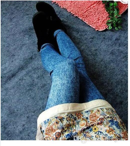 European-style Jeggings big yards snow imitation cowboy printed leggings Women leggings pants Nine minutes of pants Hot sale leggins jeans