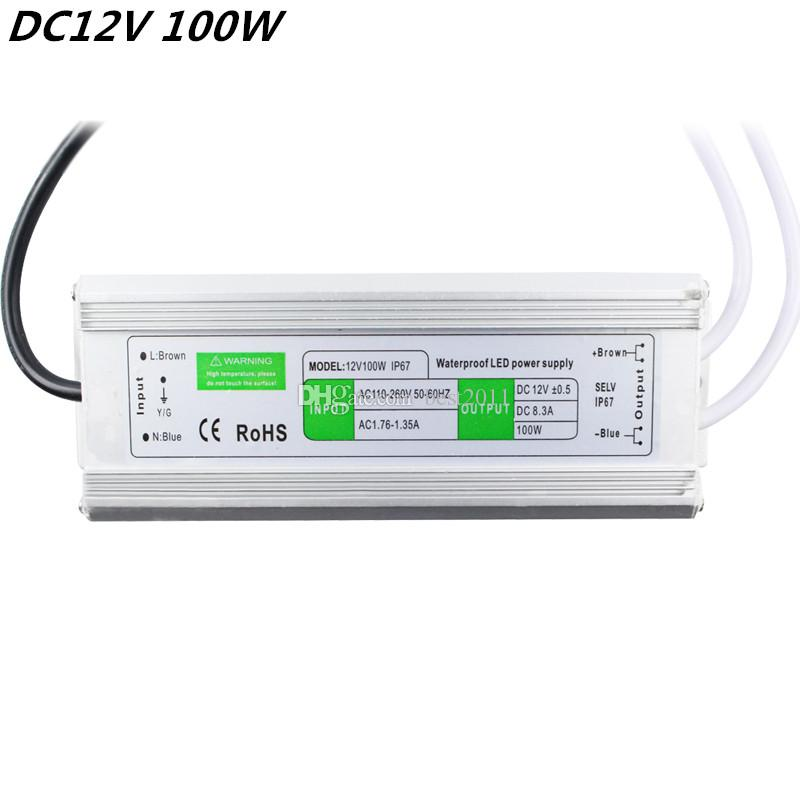 DC 12V 100W IP67 Waterproof LED Driver AC100-260V To DC 12V LED Driver Switch Transformer Outdoor Lighting Power Supply