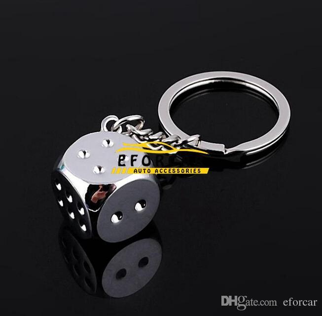 자동차 세련된 크롬 실버 주사위 키 체인 링 FOB - 집에 / 자동차 / 트럭 / 자전거 키 브랜드에 대한 새로운 무료 배송