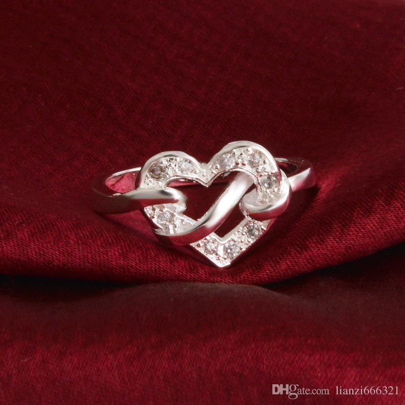 Livraison gratuite New 925 Sterling Silver fashion bijoux Nœud Coeur Blanc Diamant Avec Pave zircon anneau vente chaude fille cadeau 1724