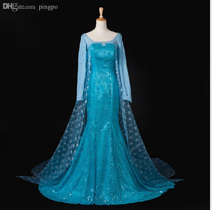wholesale elsa costume women adult ice queen adult princess elsa dress cosplay snow queen costume party halloween costumes for women costume nose party city