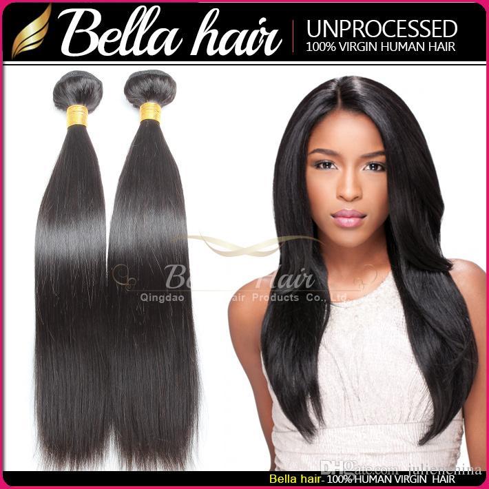 Bella Hair® 9a brasilianska hårförlängningar 10-24in hårväft 100% mänskligt hår vävar naturlig färg silkeslen rak bunt