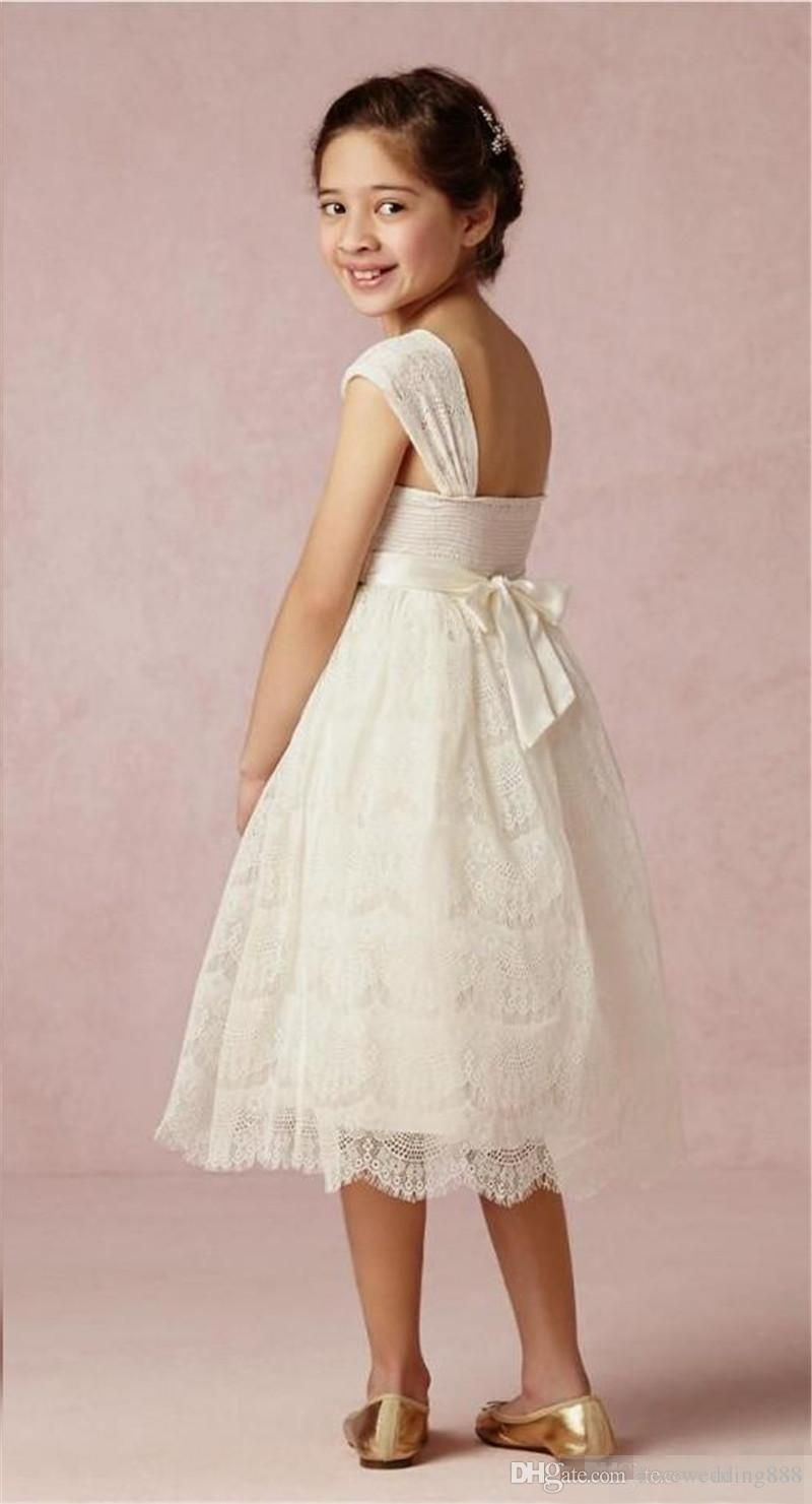 New Lace Wedding Flower Girls Dresses A Line Bow Simple Cheap Communion Dress Birthday Party Gowns for Kids