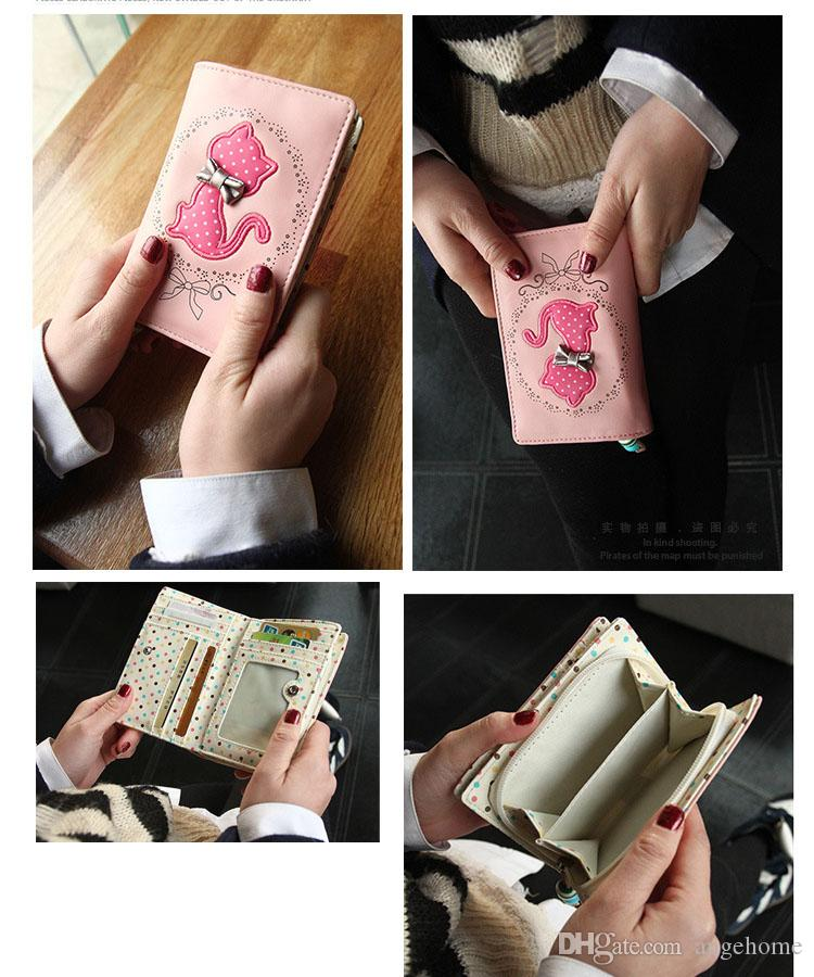 Candy Colors Short Medium style and long pattern Wallet Cartoon Cat Dot Floral Pattern Soft Leather Materials Small Purse Valentines Gift