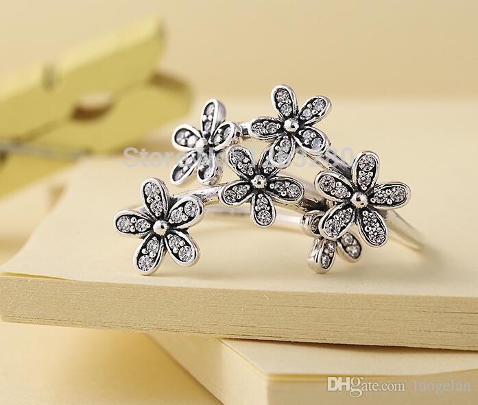 Pandora takı yüzük Bahar 2015 Yeni papatya gümüş yüzükler kübik zirkon 100% ile 925 ayar gümüş takı toptan DIY