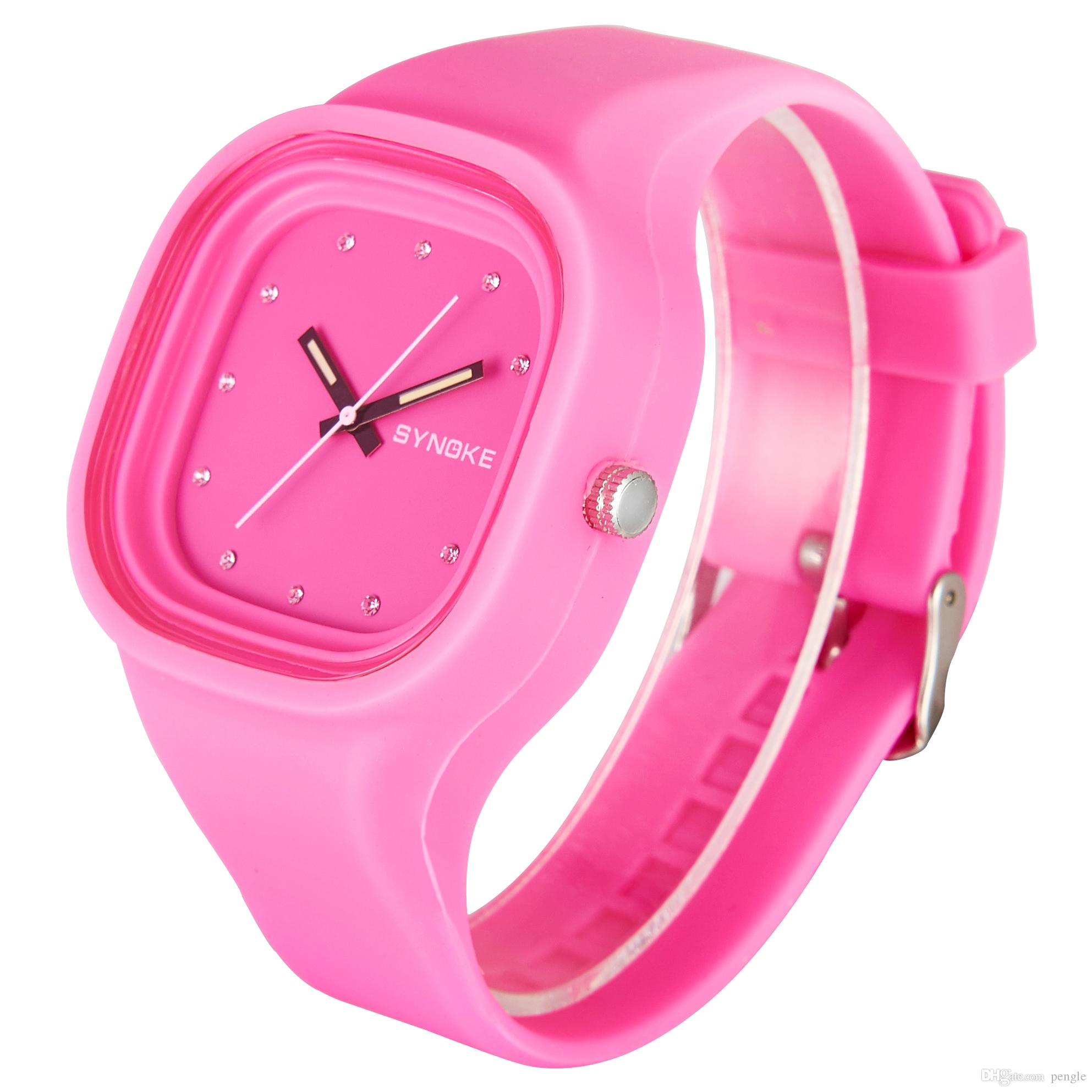New Arrival Jelly Silicone Sports PU Colorful Square Dial Waterproof Watch For Women