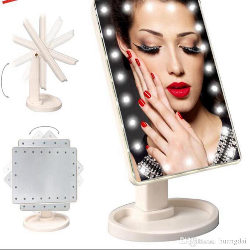 Make Up LED Mirror Pantalla táctil de rotación de 360 grados Make Up Cosmetic Folding Portable Compact Pocket con 22 LED Light Makeup Mirror