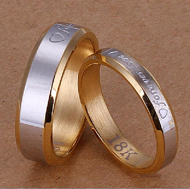 Forever Love Couple Rings Set 18k Gold Plated Steel Two Tone Wedding