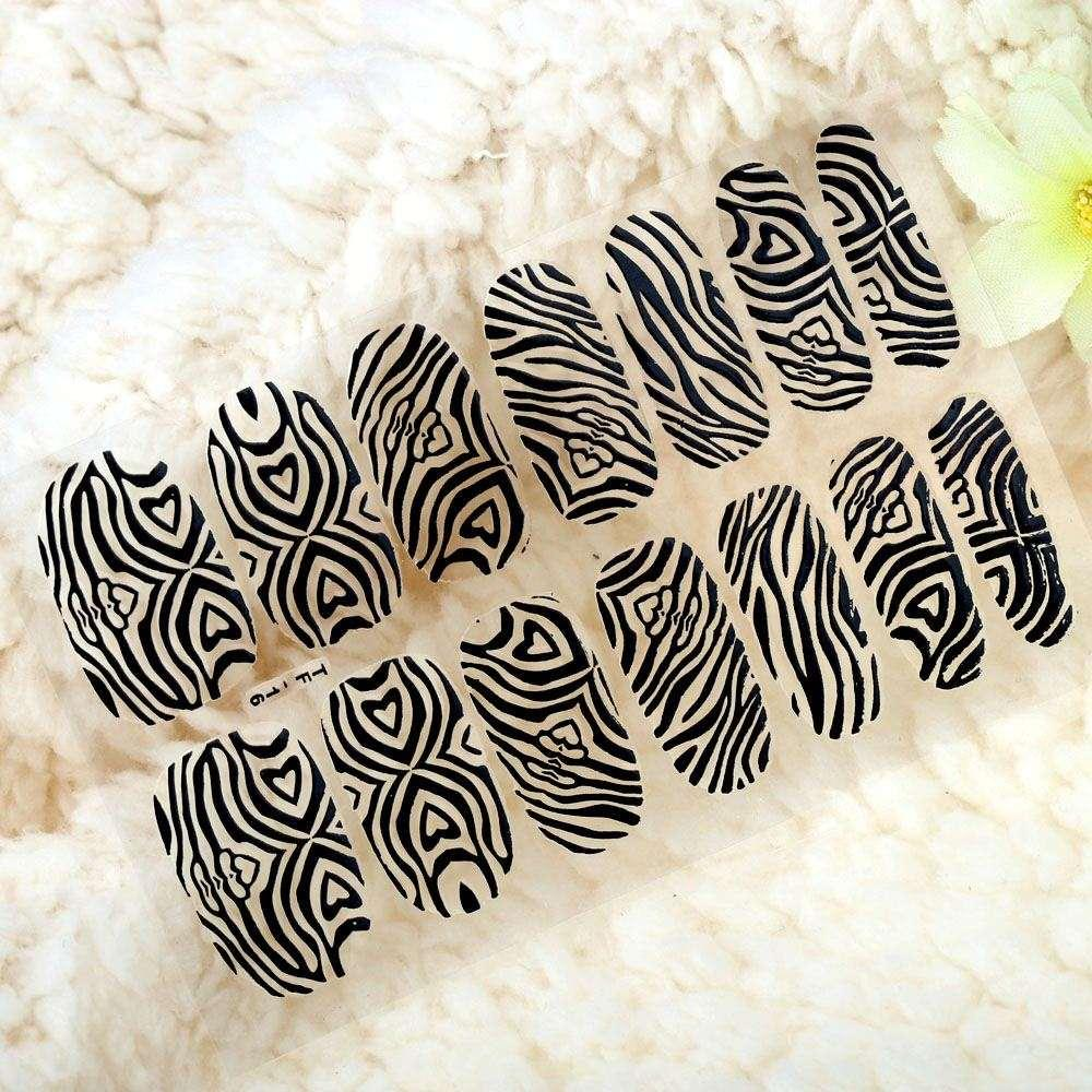 DIY Nail Art Stickers Patch Wraps Fingers Black / Golden One Sheet Mix Style Nail Tips Dekoration Makeup Stying Tools