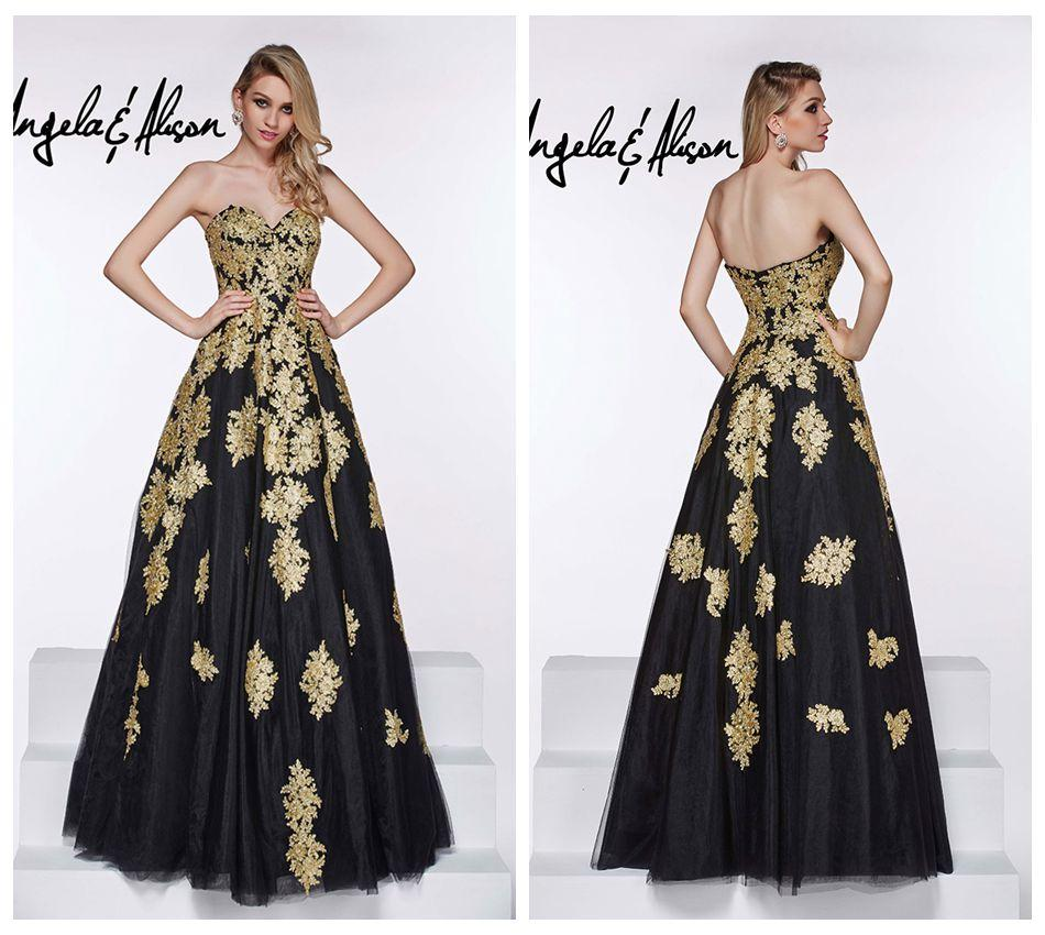 Black dress gold lace - See Larger Image