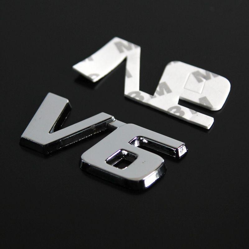 المعادن V6 كروم شعارات شارات السيارات الوفير ملصقات درابزين سيارة التصميم