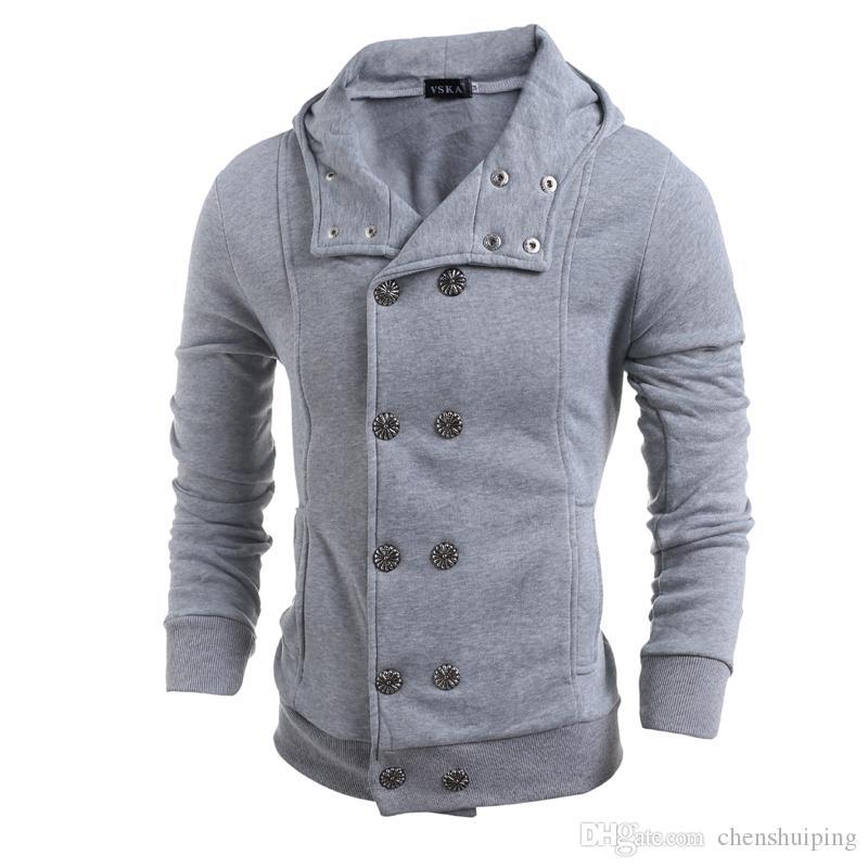 Novos hot moda dos homens trespassado com capuz camisas de Suor cardigan Dos Homens Hoodies Moletons tamanho M-XXL frete grátis