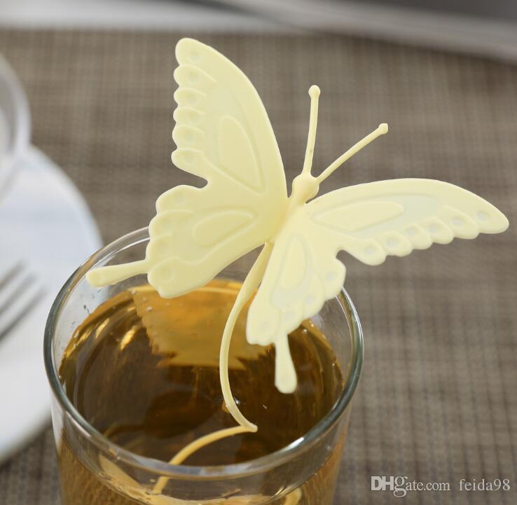 2017 Vente Chaude Papillon Sachets À Thé Filtres En Silicone Cuillère À Thé Filtre Infuseur En Silice Mignon Sachets Pour Le Thé café Drinkware G1203