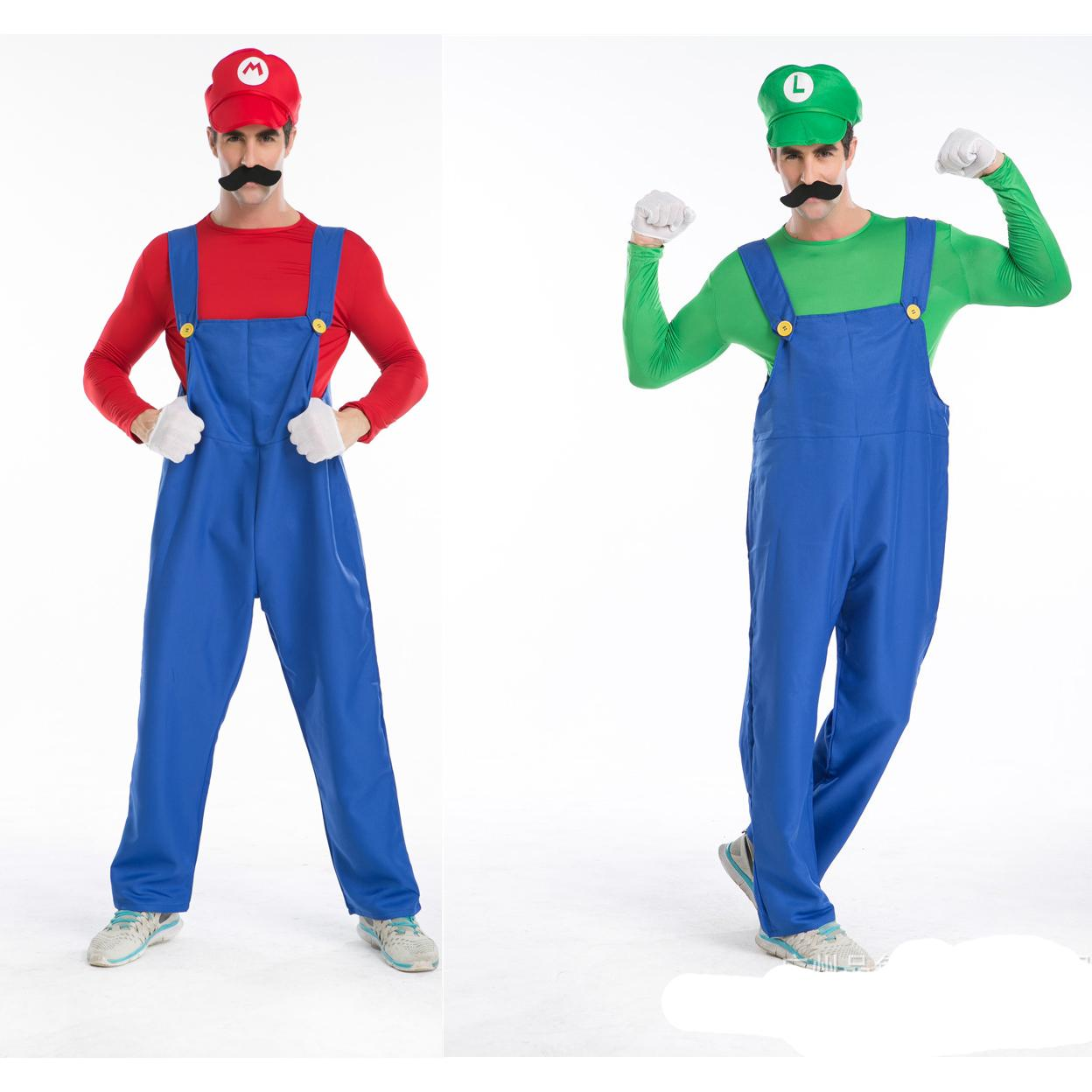 e455442f18bb2a 5 Stück Super Mario Brothers Masquerade Kostüm Cosplay für Erwachsene  Männer Hollaween Kostüme Kit mit Hut Bart Handschuh Größe M L XL