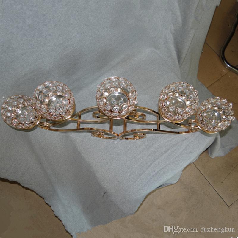 Лучшие по рейтингу 5 Глава золотой металл Кристалл подсвечник 5 шаров канделябры свадьба центральным 5-руки люстра