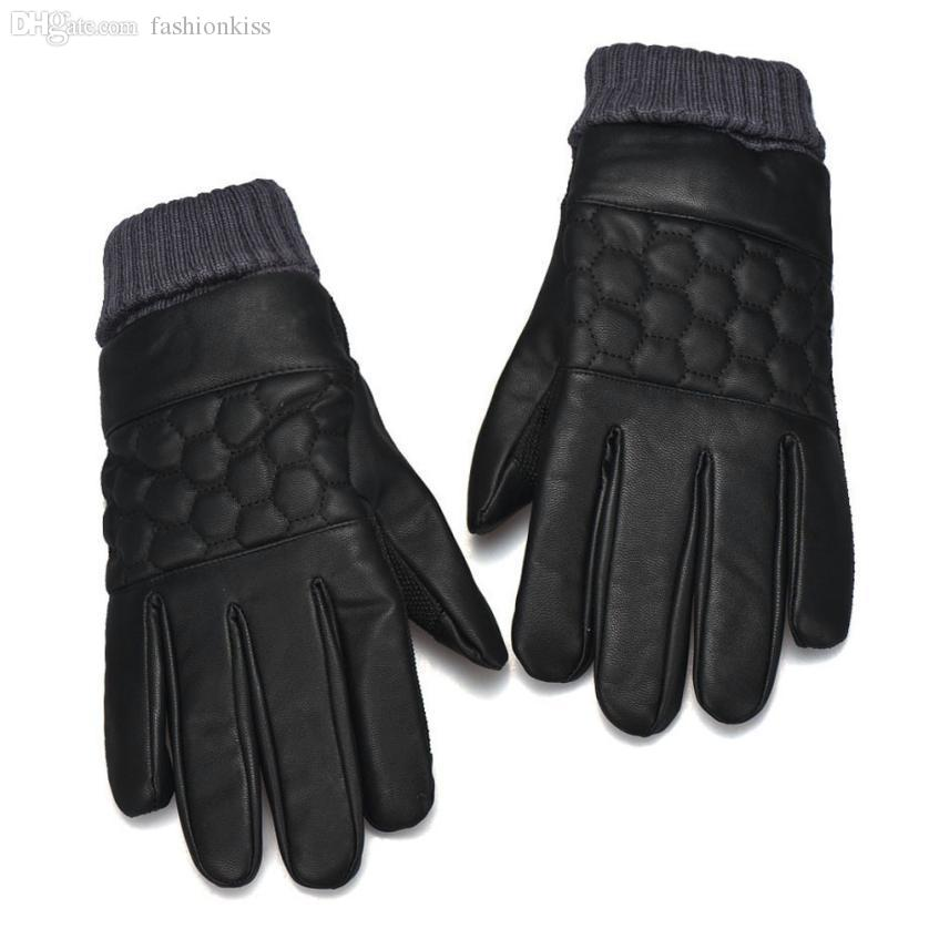 be6908986b094 2019 Wholesale Jimshop Autumn Winter Warm Fashion Genuine Leather Gloves  Men Waterproof Windstopper Glove Leather Fashion Mens Leather Gloves From  ...