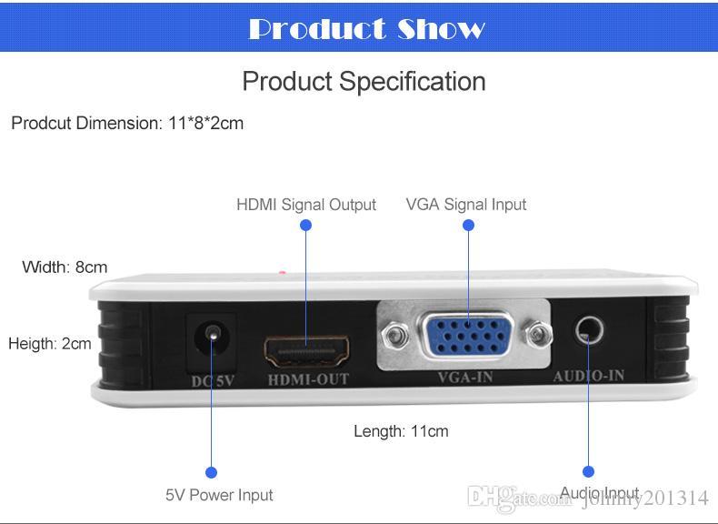 Nuevo convertidor de video 1080P HD VGA a convertidor HDMI con adaptador de audio CABLE + US / cable de enchufe de cargador para PC