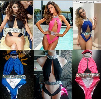 b11dce6911 2019 2015 High Cut Diamond One Pieces Swimwear For Women
