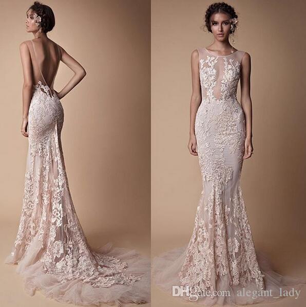 Berta Lace Applique 인어 공주의 이브닝 드레스는 얇은 목 착용하지 않음 전체 길이 맞춤 제작 Fishtail Prom 미식가 드레스 저렴한