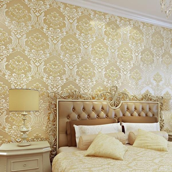Luxury 3d damask wallpaper silver grey tv background wall for Luxury 3d wallpaper