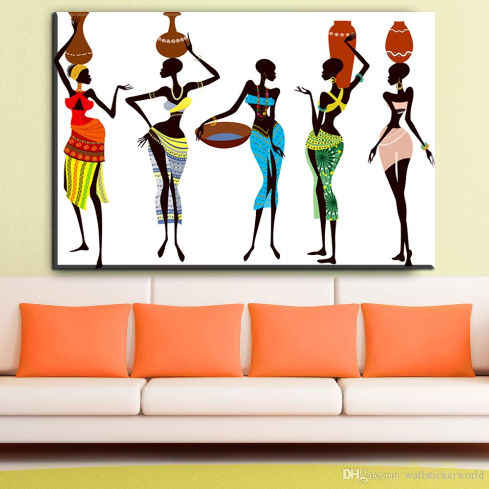 African Women Abstract Canvas Art Oil Painting Modern Home Decor Wall Poster Pictures For Living Room No Frame UK 2019 From Wallstickerworld