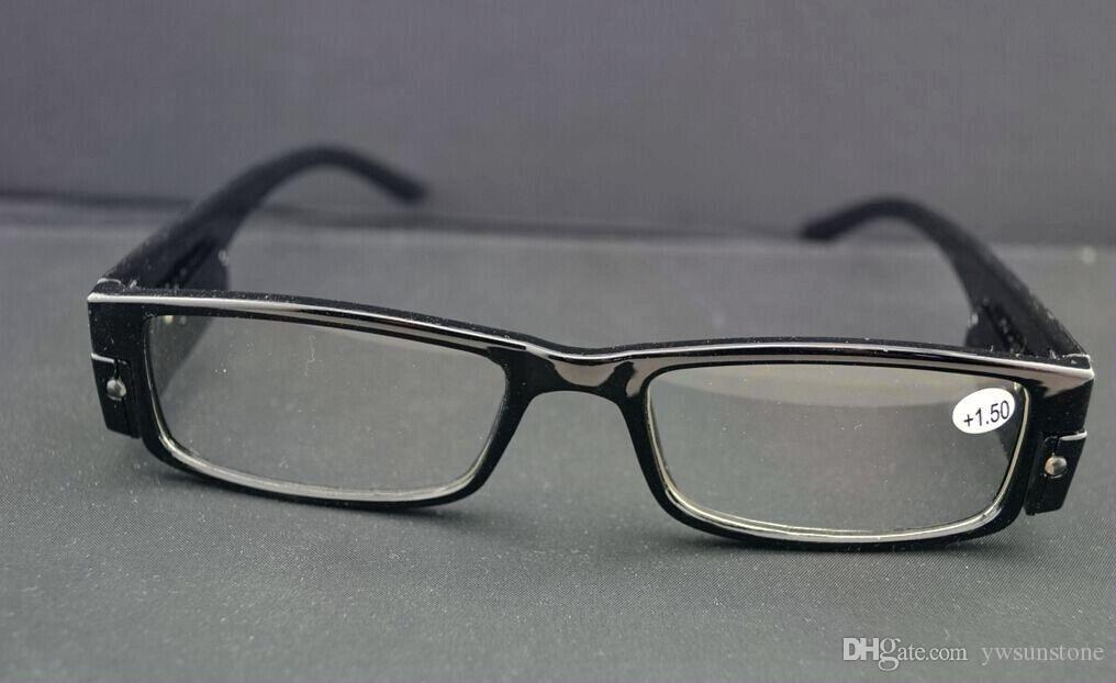 새로운 재미 LED가 프레임을 읽는 안경 블랙 Hinged 리더 안경 / 무료 배송