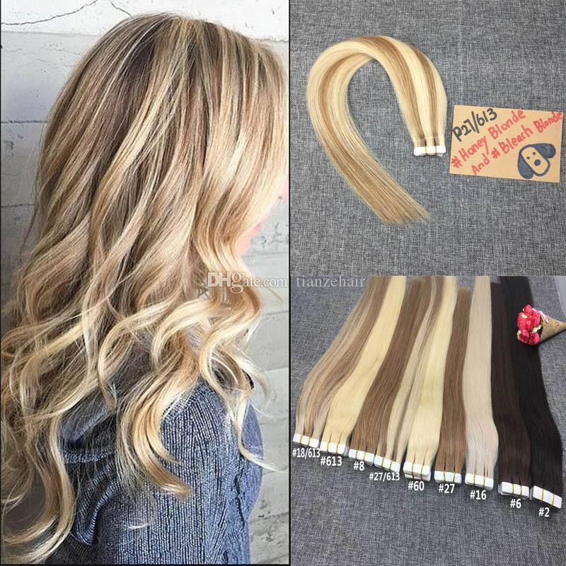 Remy Tape In Hair Extensions Piano Color P27613 Real Hair Tape