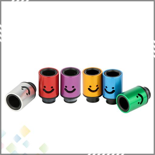 Aluminum Drip tips Smile Face Mouthpiece Adjustable Airflow Drip Tip Air Control Drip Tips fit 510 E Cigarette Atomizer DHL Free