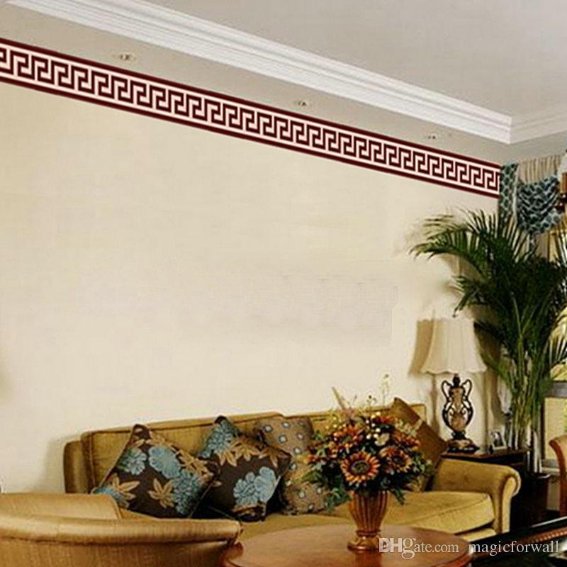 Borde de la pared Etiqueta engomada del trazador de líneas Decoración de la pared Mural DIY Decoración del hogar Compruebe Arte Mural Wallpaper Decoración Decoración de la sala