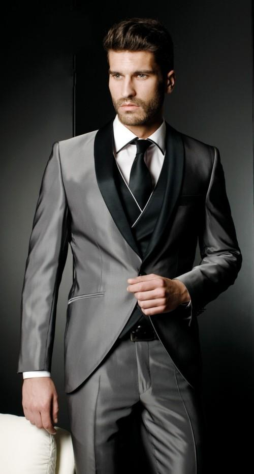 Silver Wedding Suits For Men Black Shawl Lapel Grooms