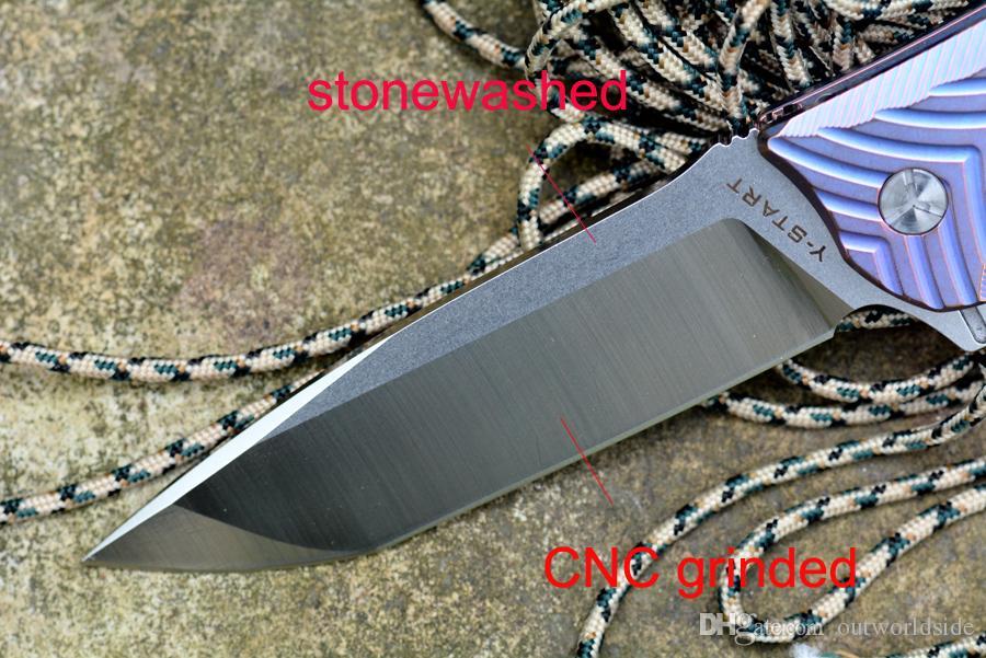 Y-START VG10 بليد الطي سكين السيراميك كروي TC4 تي مقبض التخييم الصيد سكين جيب انخفاض الشحن