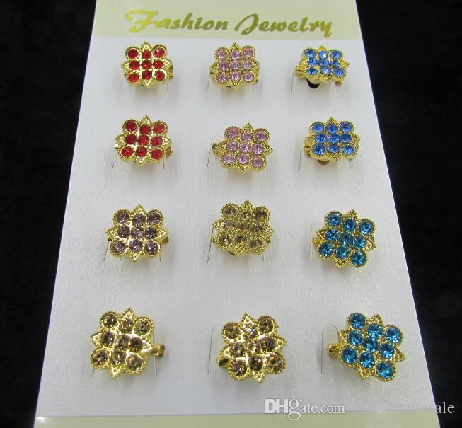 Gold Plated Alloy Diamante Crystal Rhinestone Sun Flowers and other Different Styles Pin Brooch for choices