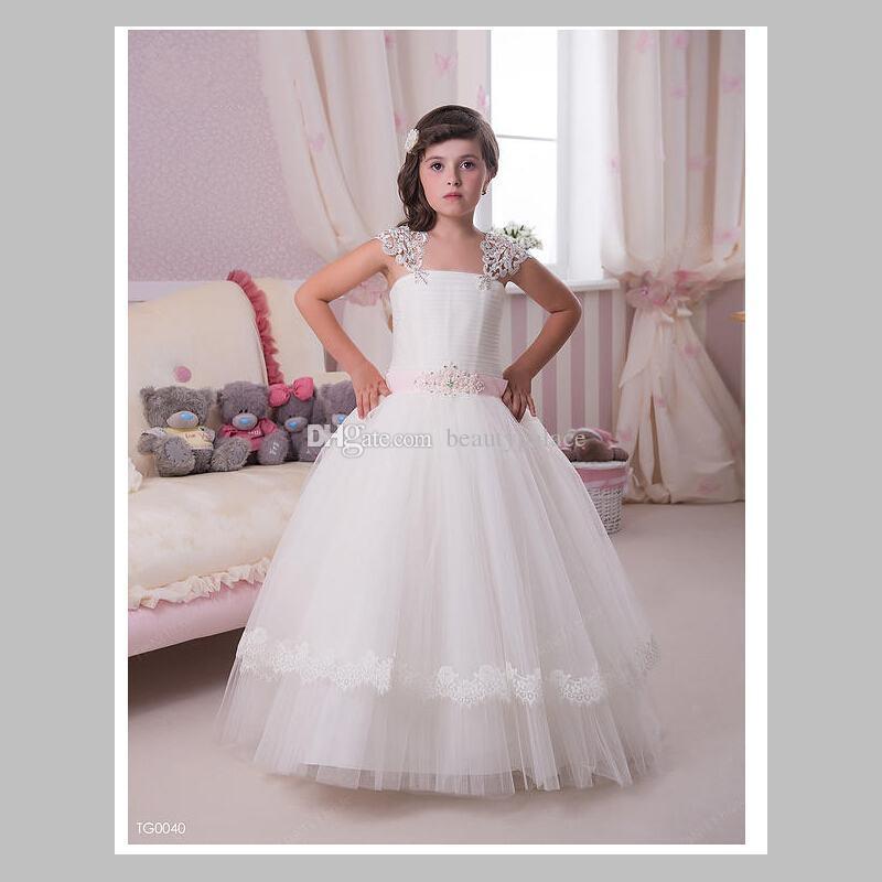 Cap manga vestido de baile net baby girl festa de aniversário de natal vestidos de princesa vestidos de festa de menina vestidos de flores da menina marfim tule