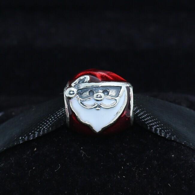 925 فضة جولي سانتا سحر الخرزة مع المينا الأحمر والأبيض يناسب القلائد باندورا أساور مجوهرات الأوروبي
