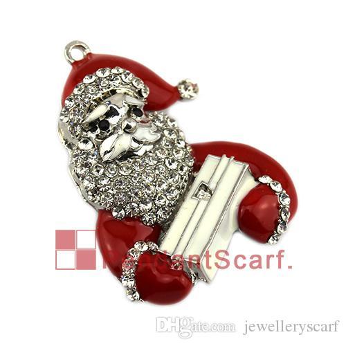 Новая мода ожерелье кулон шарф ювелирные изделия горный хрусталь эмаль аккордеон Рождество Санта-Клаус ювелирные изделия шарф кулон, Бесплатная доставка, AC0428
