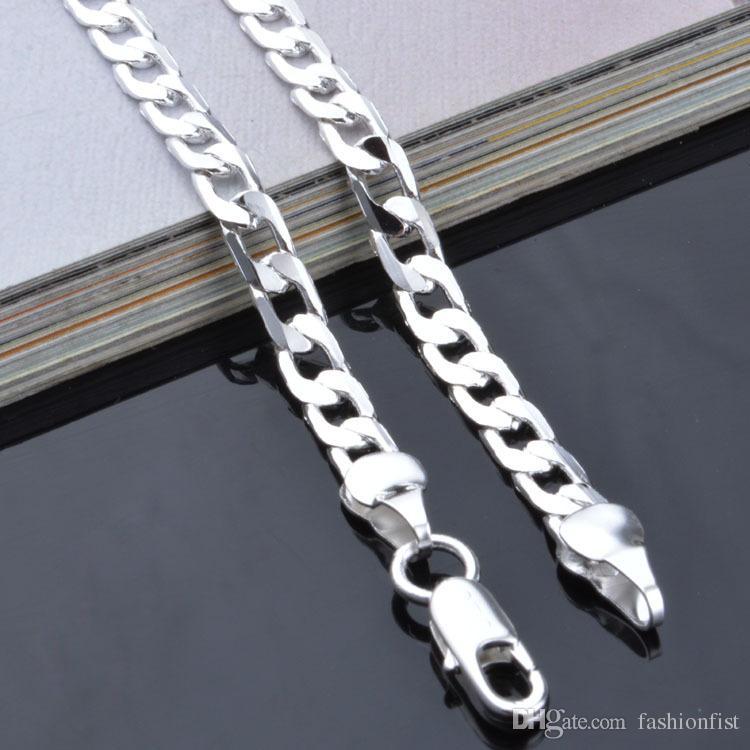 Topkwaliteit 4mm 925 Sterling Zilveren Ketting Curb Chain Figaro Ketting Kettingen Twee Stijl Link Italië 16-24 Inch