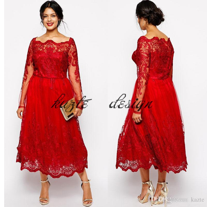 Plus Size Vintage Tea Length Prom Dresses With Long Sleeves 2018 Custom Make Red Lace Applique Bateau Neck Dubai Arabic Evening Gowns