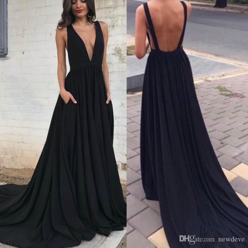 On Sale Sexy Back Deep V Neck Black Prom Dresses For Fat Ladies A