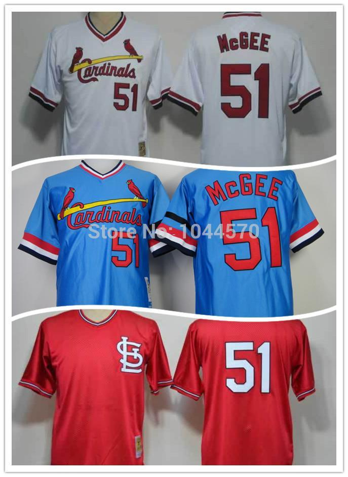 super popular 68515 34b87 st. louis cardinals 51 willie mcgee red throwback jersey