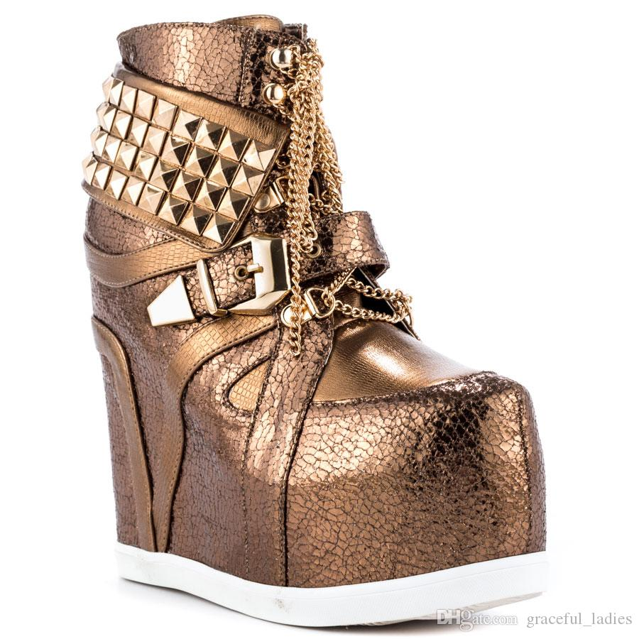 Bronze Womens Punk Boots Wedge Ankle Length Platform Women Shoes Pumps Metal Panel Buckle New Design Girls Casual Dress Shoe Stiletto Heel