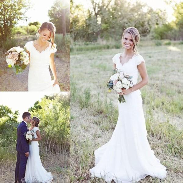 2015 Elegant Lace Wedding Dresses V Neck Sheath Vintage Cap Sleeve ...