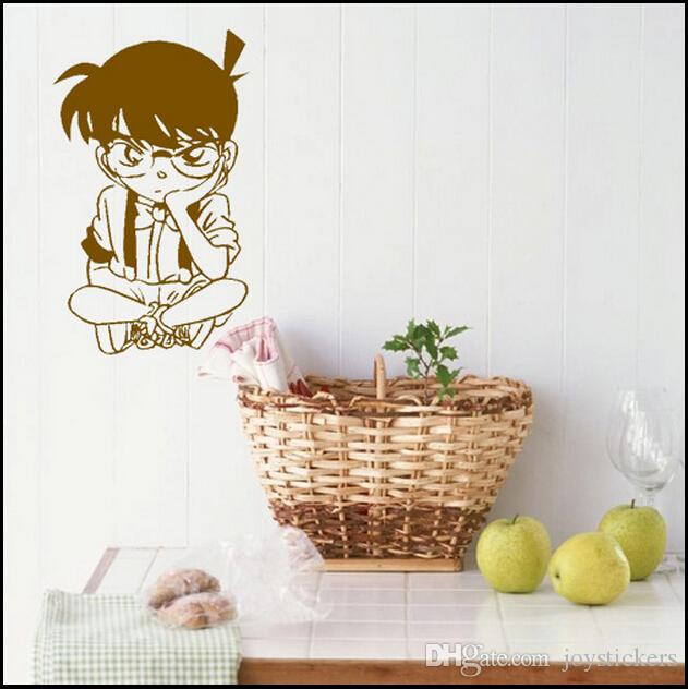 Anime Cartoon The Detective Cocan Kudou Shinichi Sitting On Floor Cool Propile PVC Hollow Out Environmental Wall Sticker Decal Home Decor