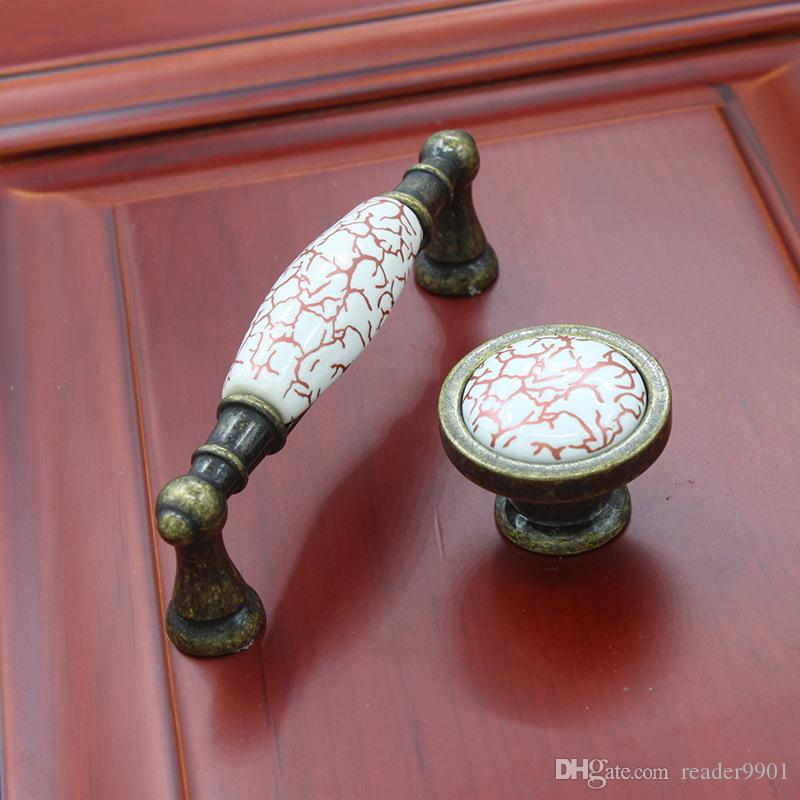 Vintage Antique Copper Red Crack Marble Ceramic Cabinet Knob And ...