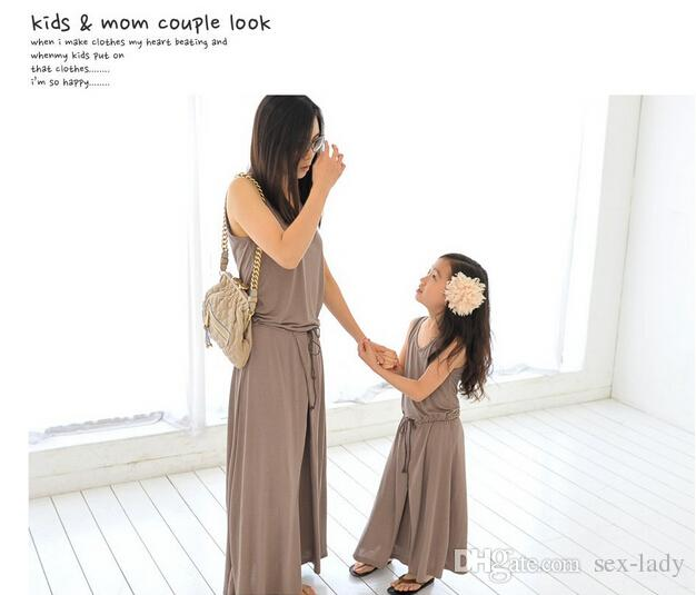 Hot sale 2016 Summer Mother and daughter dress,Fashion Flowers Girls sleeveless long dress Family fitted family matching clothes