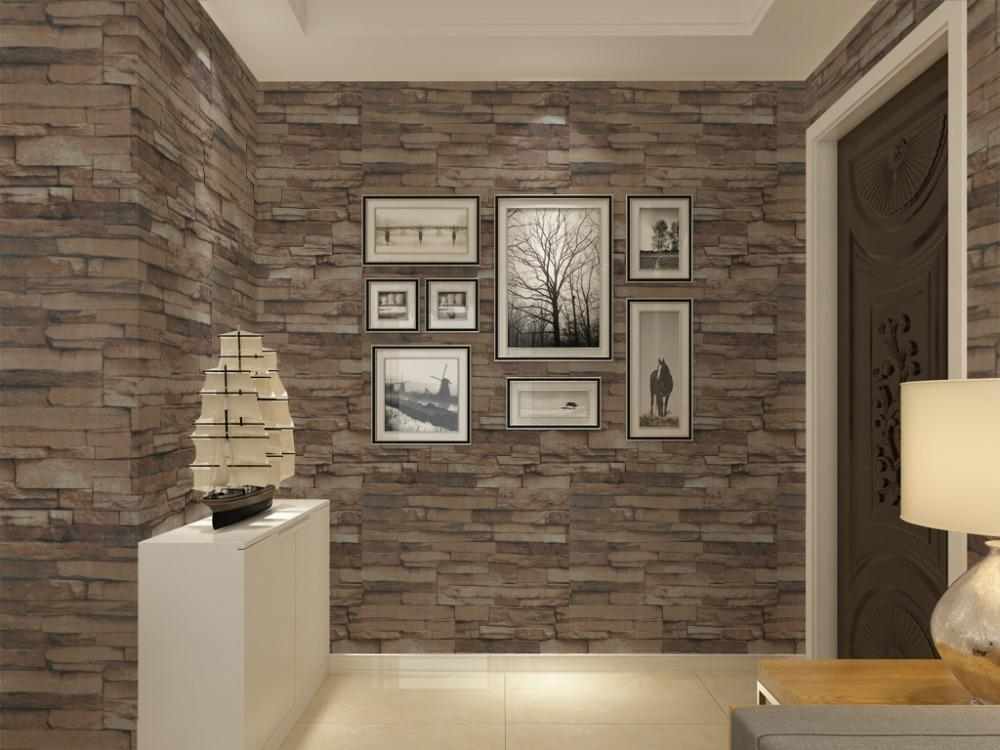 Great Vinyl Textured Embossed Brick Wall Wallpaper Modern 3d Stone Pattern  Wallpaper For Living Room Wall Brick Wallpaper Brown Grey Part 12
