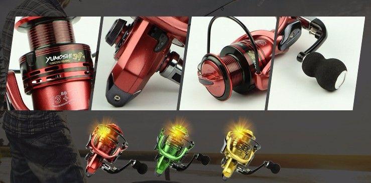 All-metal braço carpa girando carretel de pesca EVA Lidar com carretilhas de pesca 3 cores 1000-7000 series Gapless metal cabeça roda de fiar
