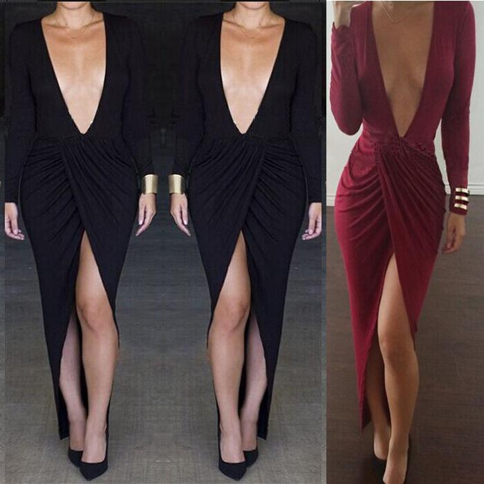 2222b1645e8 2019 Sexy Fall Split Bandage Dress Deep V Neck Solid Color Wine Red Black  Bodycon Dress Long Sleeve Women Plus Size Irregular Party Dresses M267 From  ...