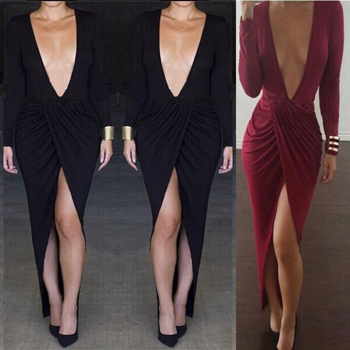 Großhandel Sexy Herbst Split Bandage Kleid Tief V Ansatz Solid Farbe ...