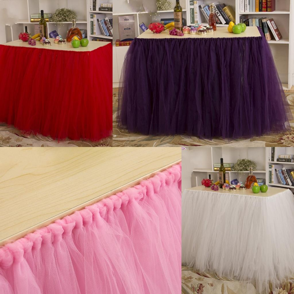 2015 Hot Tutu Table Skirt For Party Birthday Wedding 91.5 Cm*80 Cm Pink  White Purple Red Tulle Tutu Table Skirts